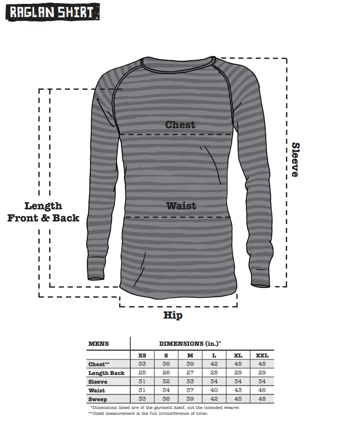Surly Raglan Shirt sizing chart