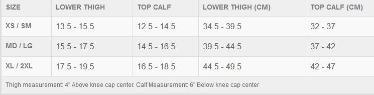 TLD Raid Knee guard sizing chart