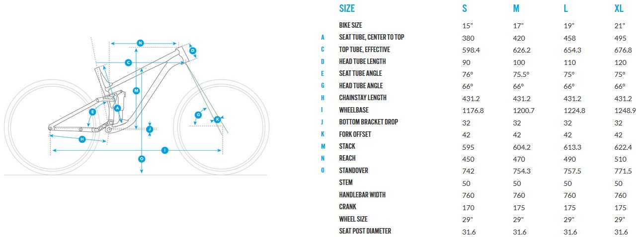 Fuji Rakan 29 geometry chart