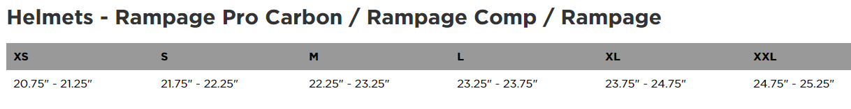 Fox Racing Rampage helmet sizing chart