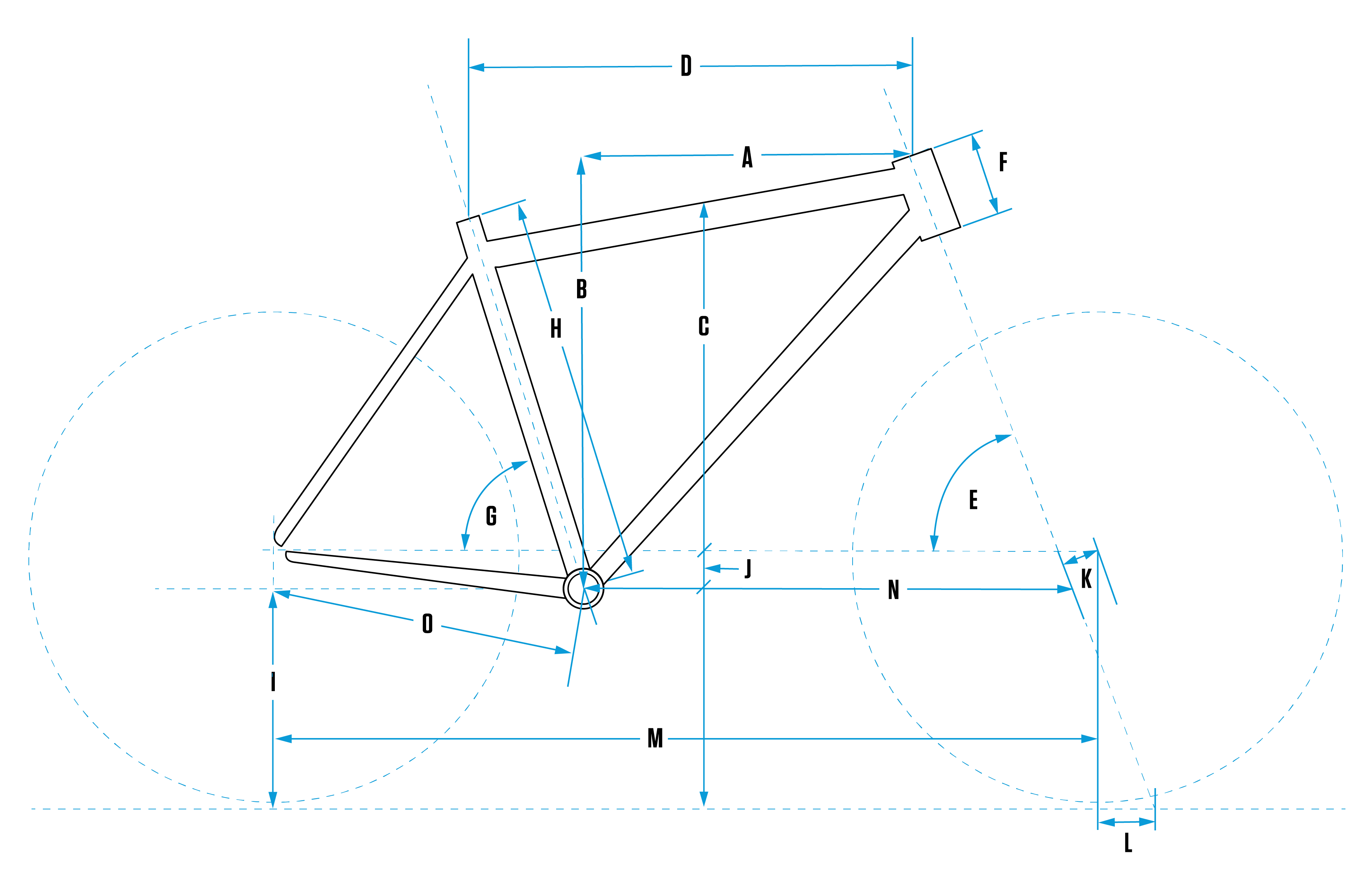 bike frame with labeled dimensions