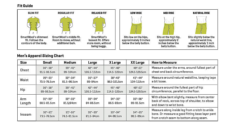 Smartwool men's apparel sizing chart