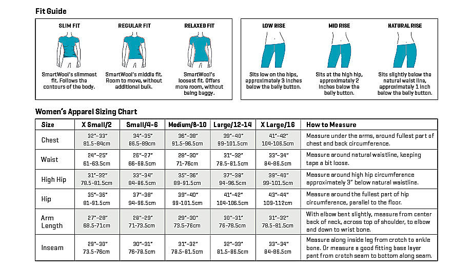 Smartwool women's apparel sizing chart