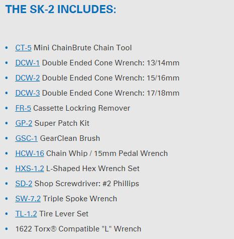 Park Tools SK-2 tool list