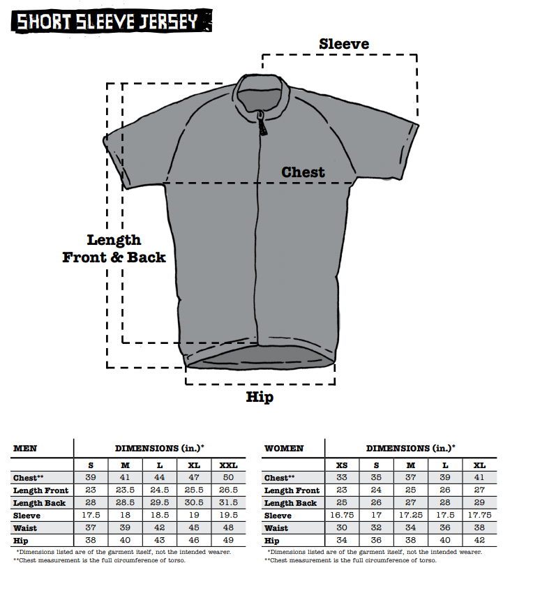 Surly Short Sleeve Jersey sizing chart