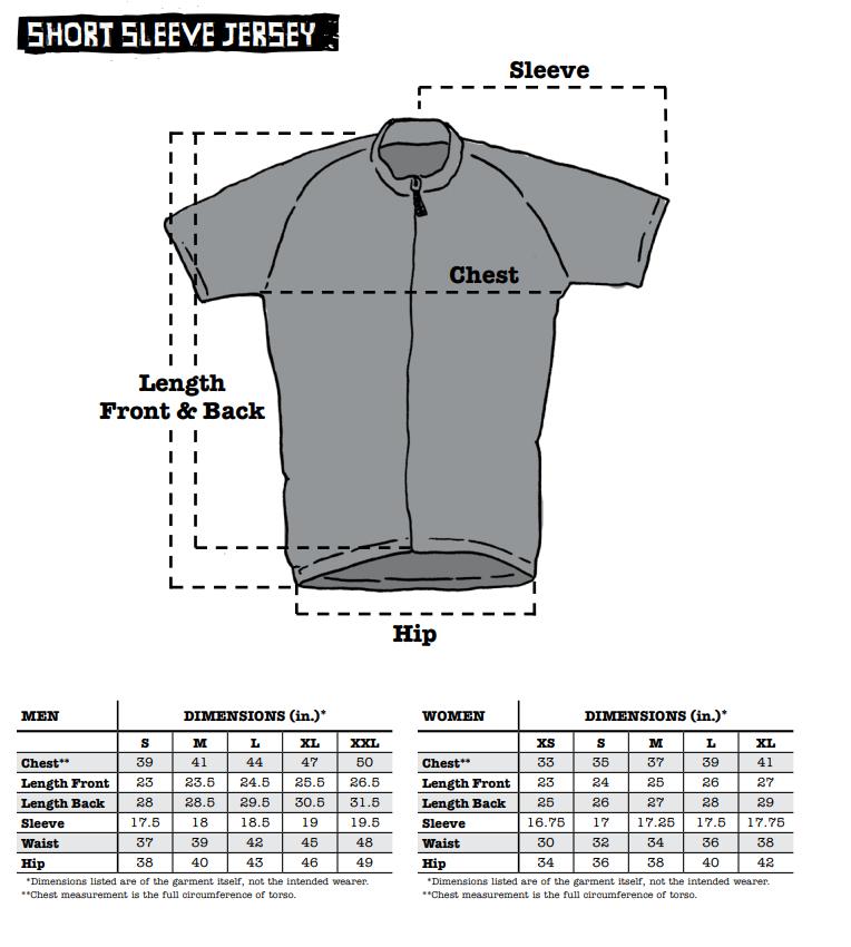 Surly Short Sleeve Jersey sizing chart