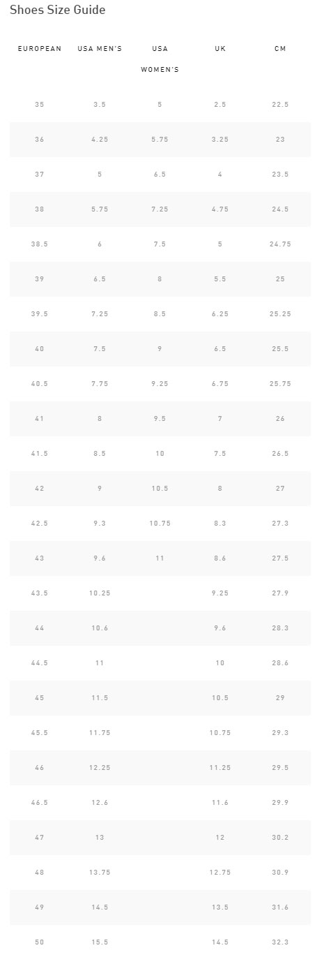Specialized S-Works 6 Road Shoe sizing chart