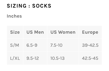 Bellwether socks sizing chart