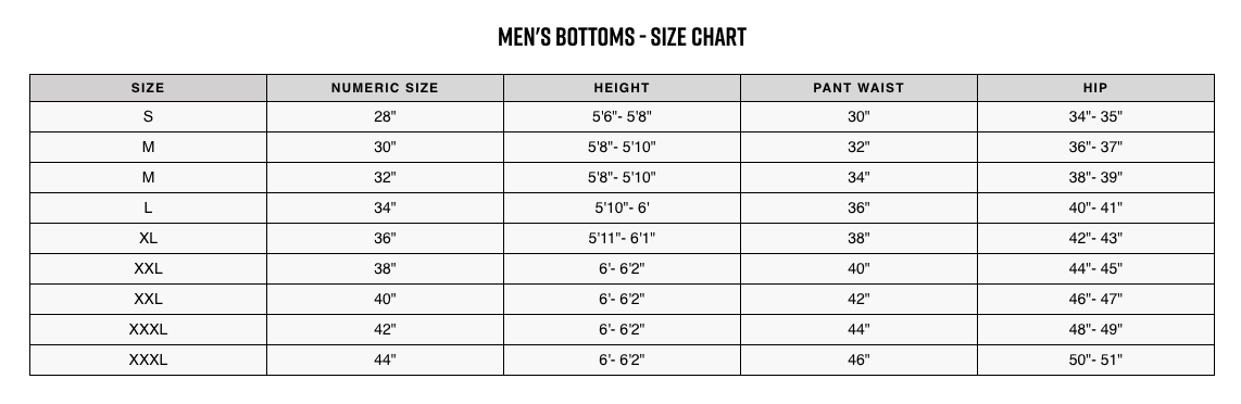 Fox Racing sizing chart