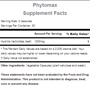 The nutritional info for Hammer Nutrition's Phytomax Supplement.