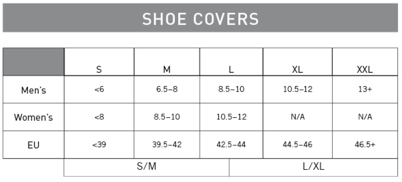 Pearl Izumi shoe cover sizing chart