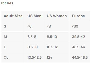 Bellwether Shoe Cover sizing chart