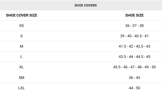 Garneau shoe cover sizing chart