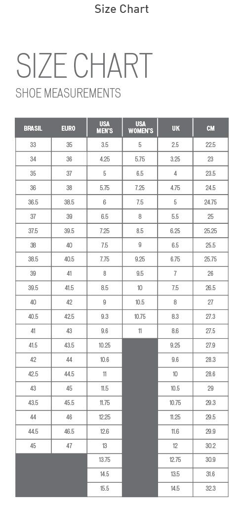 Specialized Shoe sizing chart
