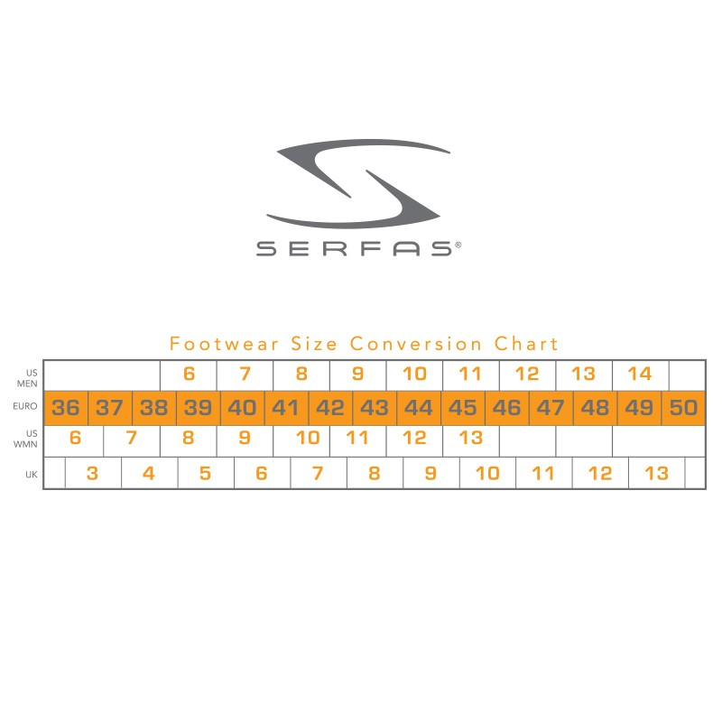 Serfas footwear sizing chart