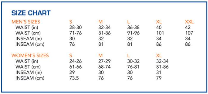 Serfas shorts size chart