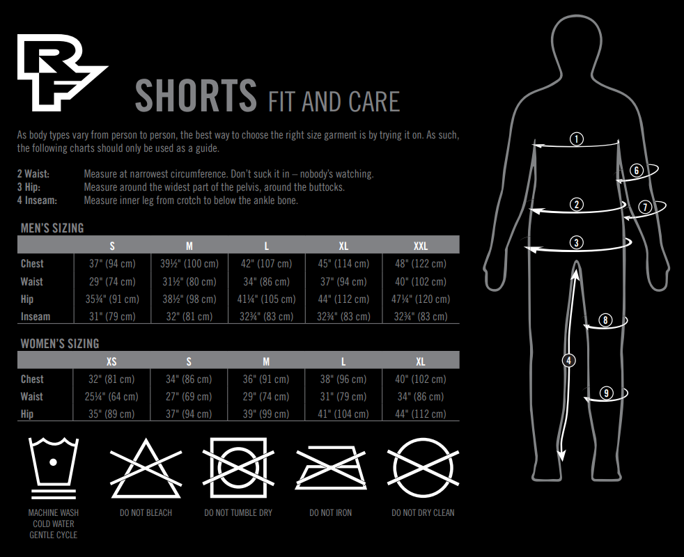 Race Face shorts sizing chart
