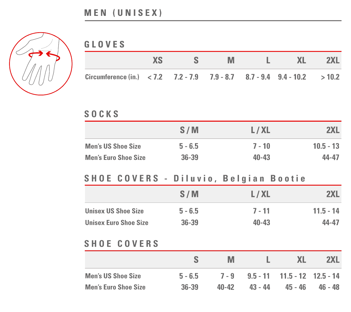 Castelli women's socks sizing