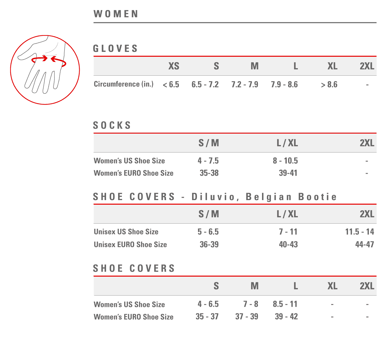 Castelli women's shoecover sizing