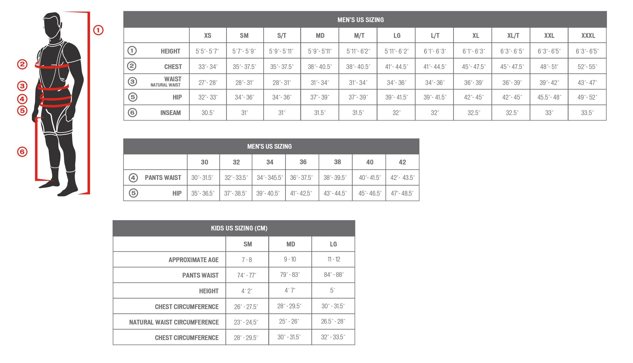 Specialized Men's Apparel sizing chart