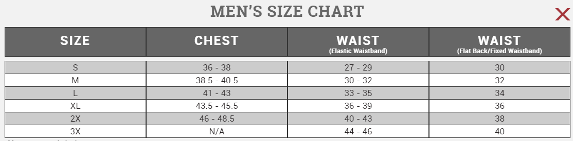 Size chart Canari Men's 2017