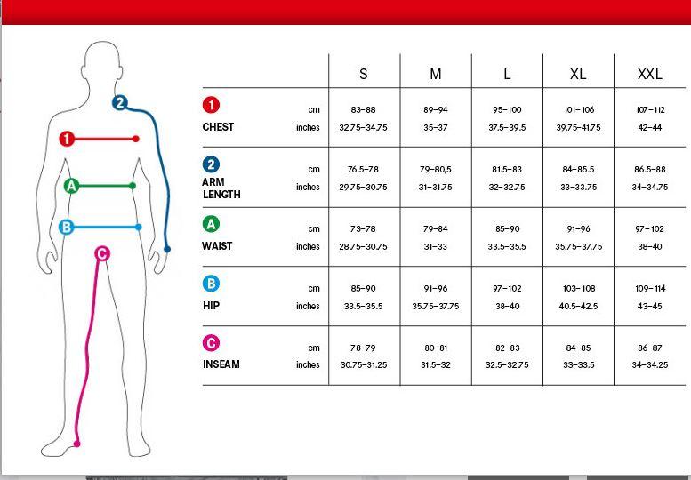 Gore Men's Size Chart