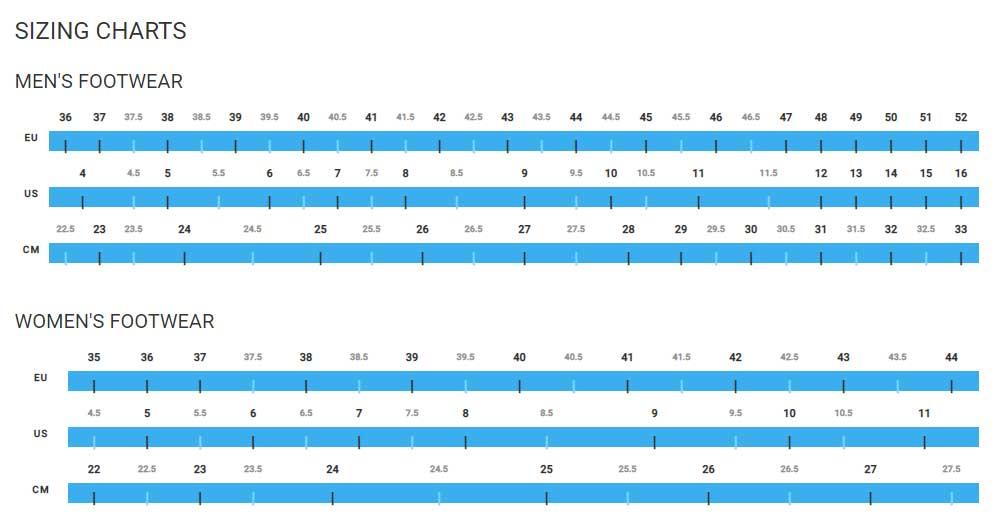 Shimano shoe sizing chart