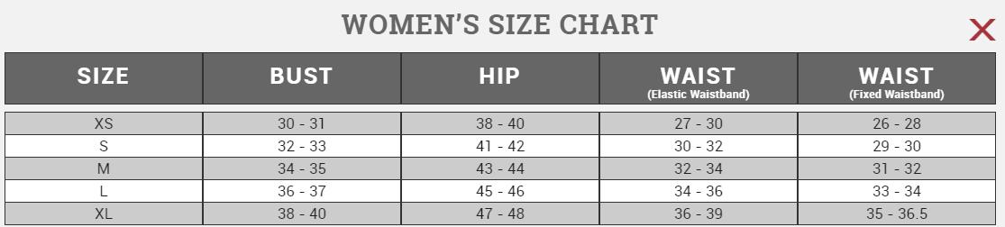Size chart Canari Women's 2017