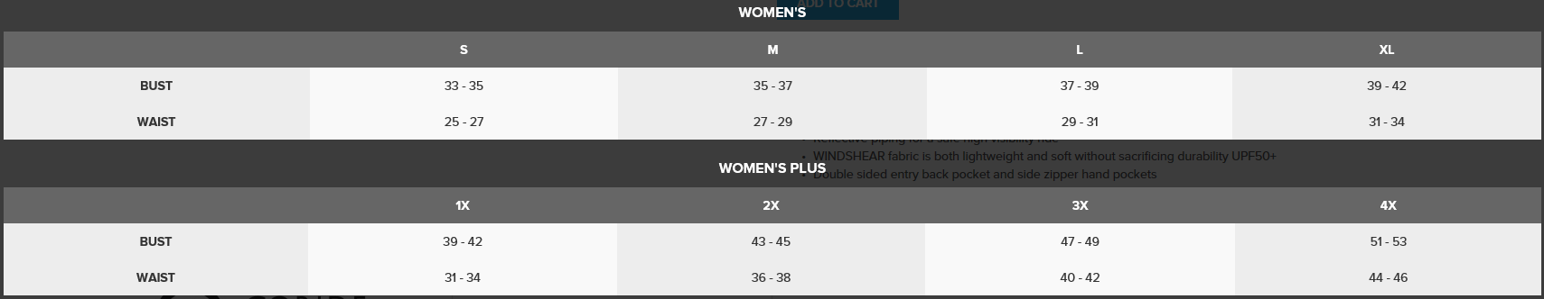 Canari Women's Size Chart 2017