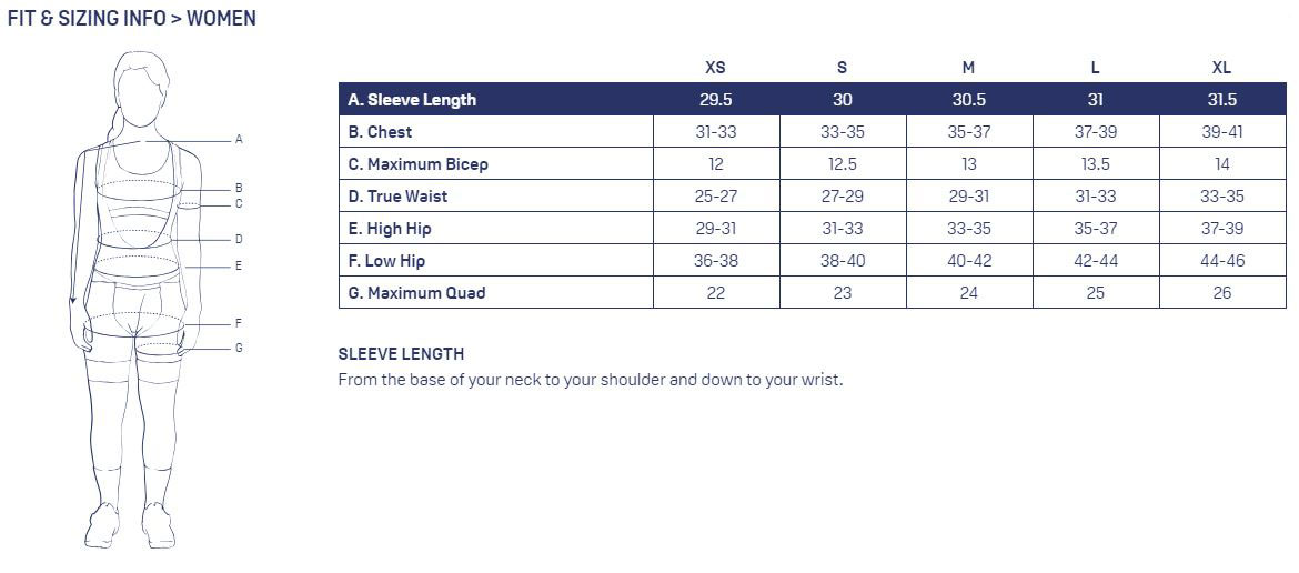 KETL women's sizing chart