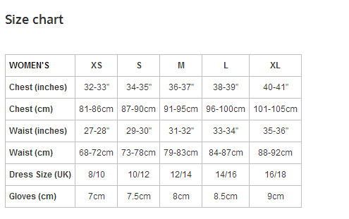 The Endura Women's sizing chart.