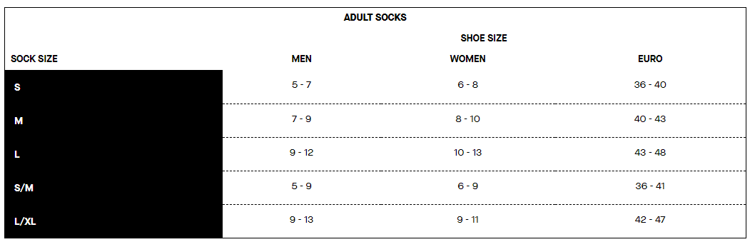 Louis Garneau adult socks sizing chart
