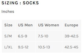 Bellwether sock sizing chart