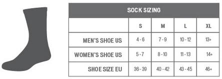 Specialized Socks sizing chart