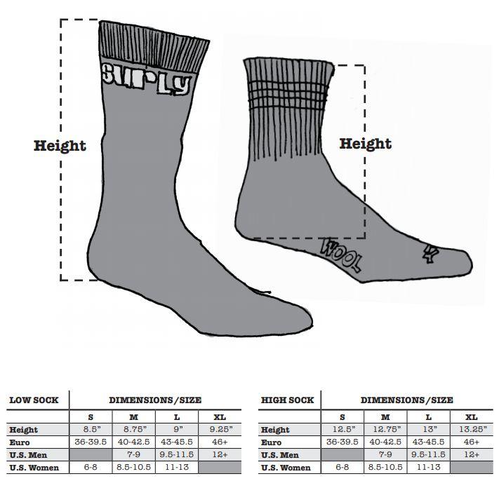 Surly sock sizing chart