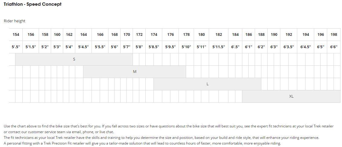Trek Speed Concept sizing chart