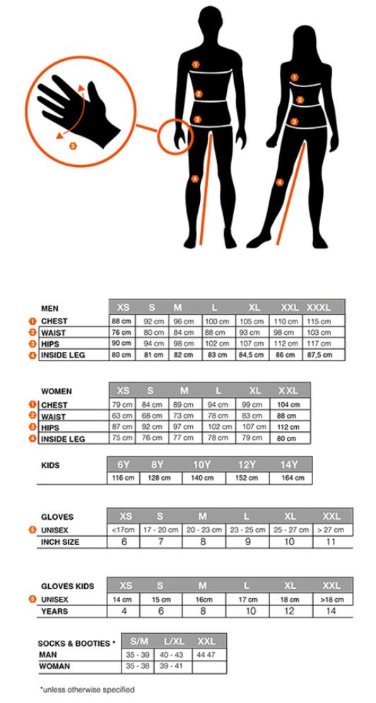 Sportful sizing chart