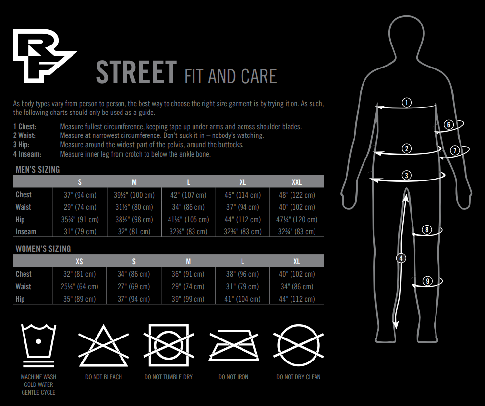 Race Face streetwear sizing chart