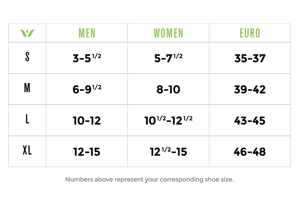 Swiftwick sock sizing chart