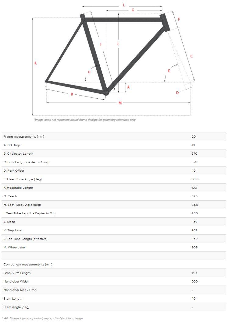 Salsa Timberjack 20 geometry chart