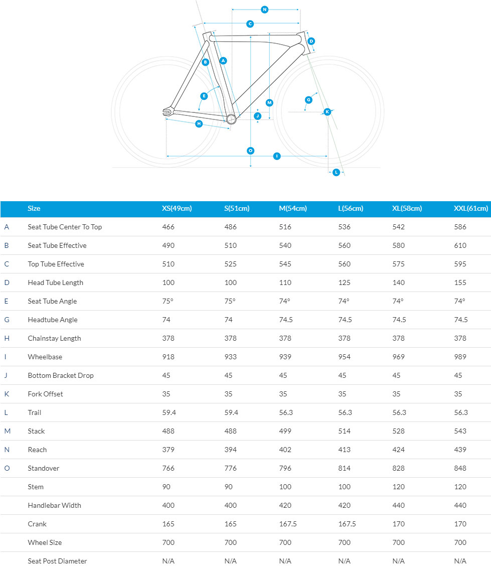Fuji Track Elite Frame geometry chart
