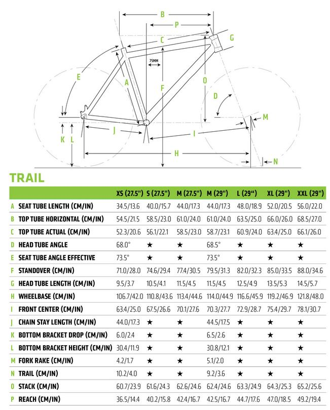 Cannondale Trail geometry chart