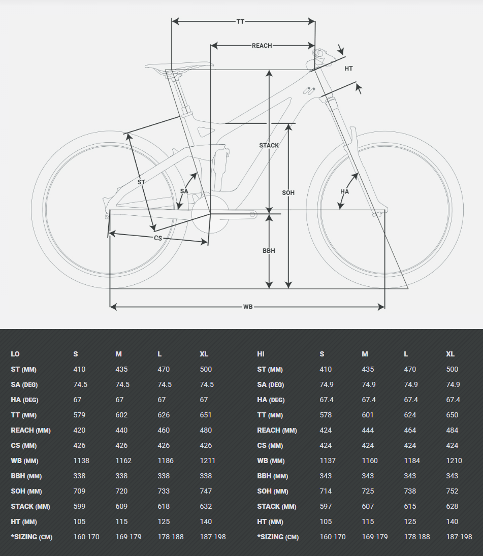 Devinci Troy geometry chart