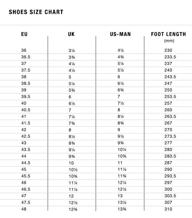 Fizik sizing chart