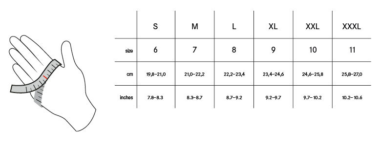 Gloves sizing chart