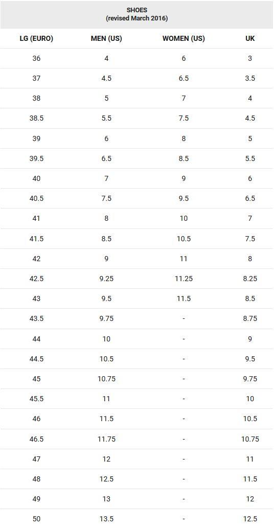 Garneau shoe sizing chart