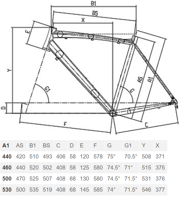 Bianchi Via Nirone Dama geometry chart