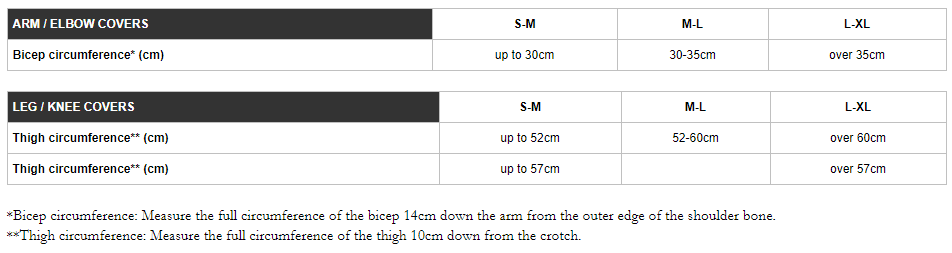 Endura arm & leg covers sizing chart