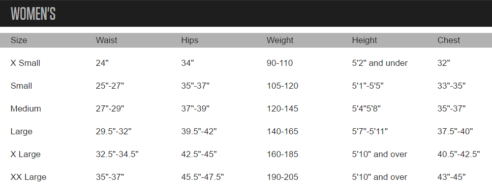 Primal Wear Women's Size Chart