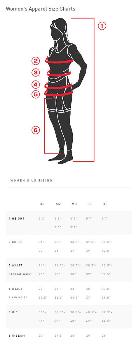 Specialized Women's Mountain Liner Bib Short Sizing Chart
